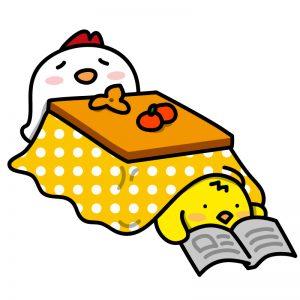 ひよこがコタツに入って本を読んでる